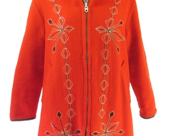 Vintage 60s Hudsons Bay Reversible Coat Womens XL Overcoat Red Chain Stitch [H62Q_4-1]