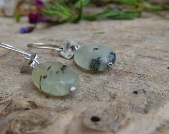 Prehnite and sterling silver dangle earrings