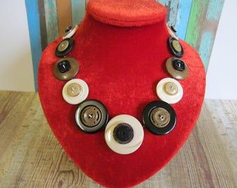 Button Necklace Brown, black and Cream Button Necklace  Retro Vintage