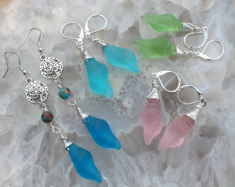 Glowing Wire wrapped Sea Glass Shell Earrings Choose Color Dangle Drop Summer earrings Beach jewelry gifts by Inarajewels