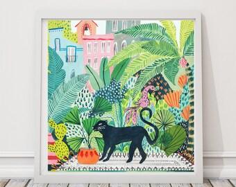 Cat Print, Panther Print, Jungle Print, Botanical Illustration, Plants Print, Indoor Plants, Botanical Print, Cactus Print, Terrarium Print