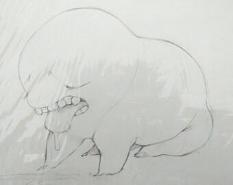 original art - sad sick monster