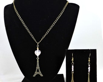 Antique Eiffel Tower Earrings and necklace Set with Pink Beads