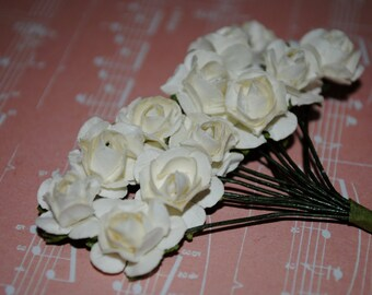 24-- Ivory- Beautiful Colored paper roses