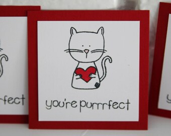 You're Purrfect Cat Valentine Card Set, Cat Holding Heart Mini Valentine Cards, Kids Valentines Cards, Classroom Valentine