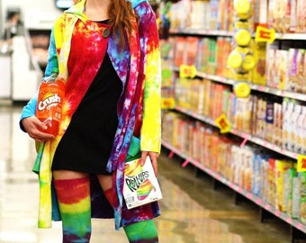 Rainbow tie dye nomad jacket with large pockets, cozy hood, and attached scarf. Sustainable bamboo fabric. Any size XS - 3X custom order