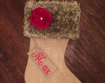Custom Burlap Christmas Stocking - Aquamarine fur