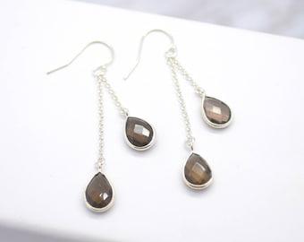 Smokey Quartz Dangle Earrings, Silver Dangle Earrings, Smokey Quartz Earrings, Gift for Her, Boho Earrings, Gemstone Dangle Earrings