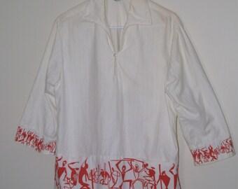 Vintage 1940's- 1950's  Malihini Hawaiian Barkcloth 3/4 sleeve Pullover Shirt