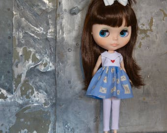Love Letter Dress for Blythe Doll - Takara Kenner or BJD Azone Pure Neemo Size
