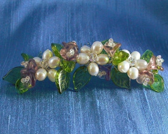 Bouquet Floral Bridal Comb, featuring Freshwater Pearl Flowers, Purple, Pink Glass Lilies and Green Leaves / Pearl Flower Side Comb