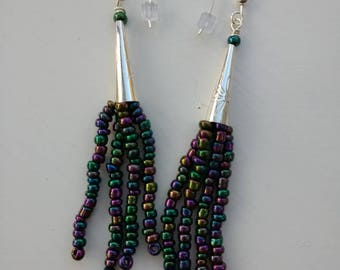 Sterling silver and seed bead earrings