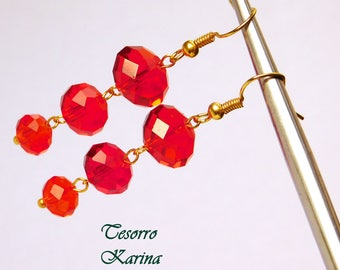Earrings with scarlet beads, Earrings with red beads, Earrings as a gift