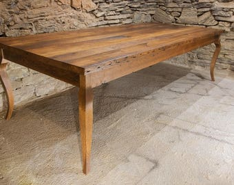 La Provencale   Rustic Refined Reclaimed Wood French Cabriole Style Farm  Table