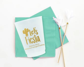 Fiesta Cups for Wedding Personalized Cups Mexican Rehearsal Dinner Fiesta Party Supplies Cactus Cups Personalised Cups Plastic Wedding Cups