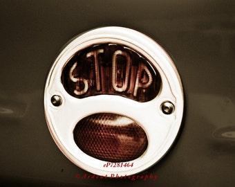 Stop Brake Light Vintage Car Man Room Car Guy Decor Wall Art Photography Mellow Tone - Stop! a fine art photography by Ardent Photography