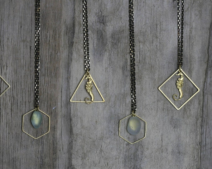 Irish Seaglass and Geometric Brass Necklace | Seaglass Jewellery  | Jewelry | Green Seaglass | Beachglass