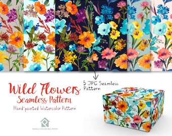 Wild Flower Watercolor Seamless Pattern- Handpainted flowers, Wedding Florals,   Watercolor Flowers- Wild Flower Seamless Pattern