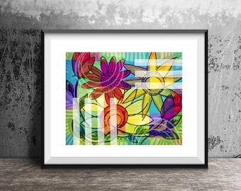 Sunny Flowers art print, Inspirational art print, colorful flowers, nature art