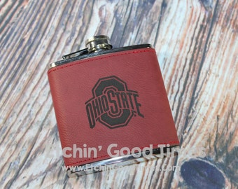 Ohio State Flask - Ohio State Athletic Logo College Football 6oz Red Wrapped Stainless Steel Flask Laser Engraved Officially Licensed