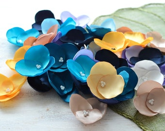 Fabric flowers, applique grab bag, satin appliques, floral embellishments, fabric hydrangeas (40 pcs)- Grab Bag in Assorted Colors (407)