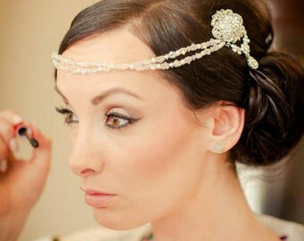 Bridal Hair Drape, Double Hair Comb, Bridal Forehead Band, Pearls & Crystal,  Forehead Boho Vintage