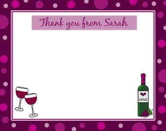 20 Personalized Thank You Cards -   Wine Theme Bridal Shower - Wine Wedding Shower
