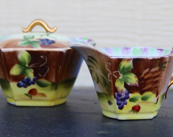 Vintage Hand Painted Sugar and Creamer Set
