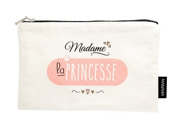 The Princess pouch. Small cotton, girl gift, gift woman clutch makeup bag, toiletry bag