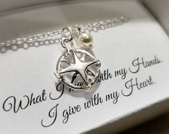 Solid Sterling Silver Nautical Compass Necklace - Petite Compass Charm, Travel Guide Necklace
