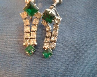 Vintage green and clear rhinestone Clip on earrings