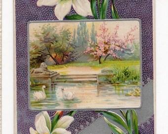 Easter vintage postcard, Easter postcard - Vintage Easter Postcard lovely landscape, swans, lion statue