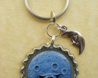 Keyring - GOBLIN MOON Bottlecap Keyring Man in the Moon Unusual Birthday Key Chain