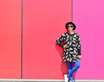 Black V neck line-long sleeve tunic -warm sportive mini dress- printted mini dress - loose top - sexy dress- cotton tunic - VNTunic