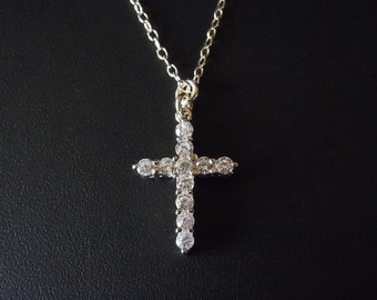 Sterling SIlver - Cubic Zarconia Cross Necklace
