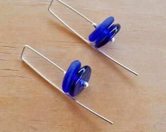 Blue earrings. Navy earrings. Earrings. Bead earrings. Modern earrings. Dangly earrings. Upcycled. Recycled glass. Gift for girlfriend