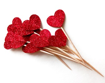Red Glitter Heart Cupcake Toppers, Wedding Shower Cupcake Toppers, Valentine's Day Party Decorations