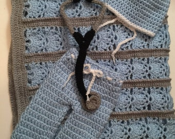 Hand Crocheted Newborn 0-3 months Nurse/ Doctor Hospital Surgical Scrubs w/ Stethoscope & Blanket - Any Color