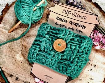 Basket weave cup sleeve/ Reusable cup sleeve/ Cup cozy/  Mug sleeve/ Mug cozy/ Tumbler sleeveGift for her/ Christmas gift/ Gift for him/