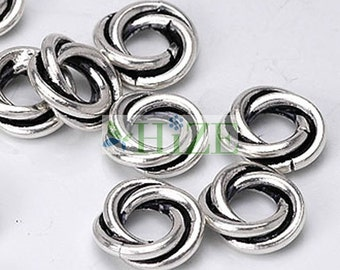 HIZE BB115 925 Bali Sterling Silver Twisted Ring Spacer Beads 8mm (20)