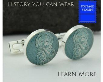 Buddha Cufflinks - Buddha Cuff Links - Vintage Japanese Postage Stamp Cufflinks - Handmade Cufflinks - Onjo Basatsu Cuff Links