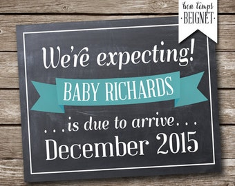 Printable Pregnancy Announcement - We're Expecting - Chalkboard Pregnancy - Pregnancy Announcement - Pregnancy Reveal - New Baby - Option 2