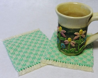 Drink Coasters, Woven Coasters, Handwoven Mug Rugs, Woven Mug Rugs, Handwoven Coasters, Natural and Mint Green, Set of 2 (#17-05 mint)