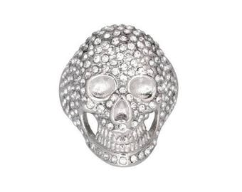 Ladies Bling Covered Skull Imitation Diamond Ring Stainless Steel Motorcycle Jewelry