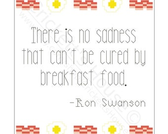 Breakfast Foods - Cross-Stitch Pattern - Quotes - Parks & Rec - Ron Swanson - INSTANT DOWNLOAD