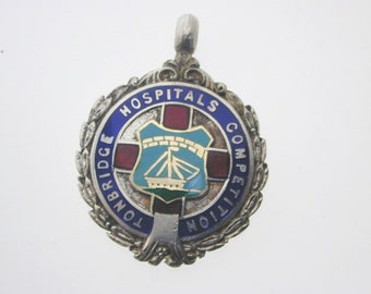"Silver enamel watch fob ""Tonbridge Hospitals Competition""1922 full hallmark 11g"