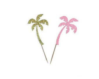 Palm Tree Cupcake Toppers, Pool Party Decor, Summer Party Decor, Beach Party, Birthday Cupcake Toppers, Spring Party Decor, Hawaiian Luau