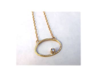 Gold and Diamond Oval Necklace 14k - Ready to Ship