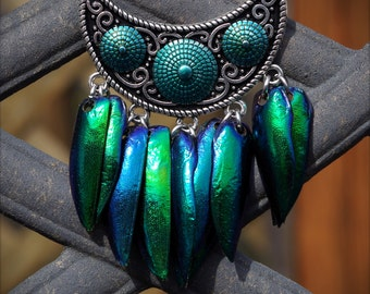 Green/Blue Iridescent Real Jewel Beetle Wing Hand Made Necklace