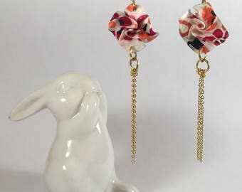 Origami paper flowers washi and chain earrings